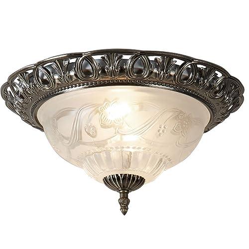 Hallway 3 x 60W E27 excl MW-Light 450015503 Flush Ceiling Light Metal Brass Glass White Antique Classic Kitchen
