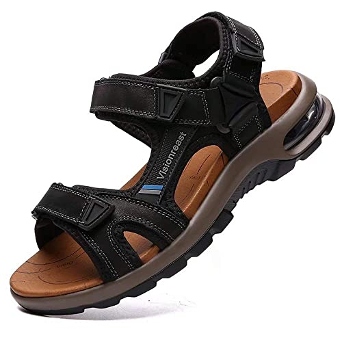 Mens leather outdoor hiking waterproof walking casual sport sandal Non-slip size