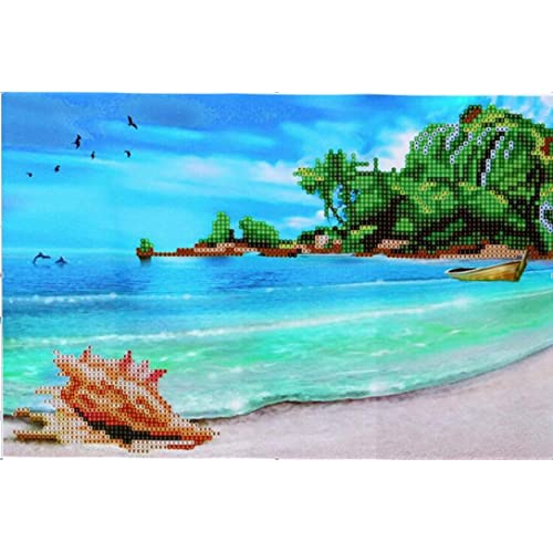 DIY 5D Diamond Painting Beach by Number Kits Full Drill Cross Stitch Crystal Rhinestone Embroidery Pictures Arts Craft for Adults Wall Decor Gift Fairy Horse 30x30cm