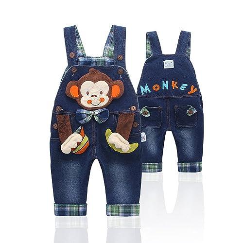 Kidscool Baby Cotton Denim Cute 3D Monkey Bag Decoration Soft to Wear Overalls
