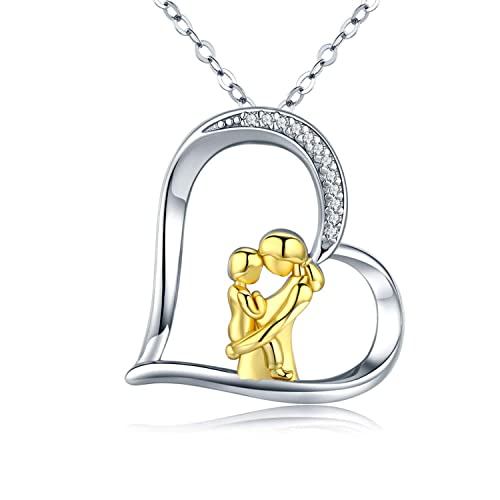 NEW 925 Sterling Cute Elephant Hug Pendant Necklaces For Mother Day Fashion Gift