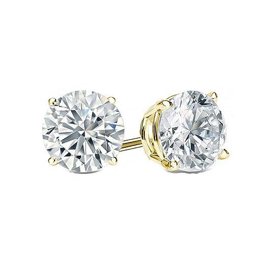 Round Earrings Stud Solid 14K White Gold Brilliant Cut Screw Simulate Diamonds