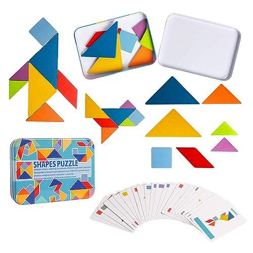 Tangram Shape Puzzle Set Color Sorting Stacking Game Hot Wooden Pattern Blocks
