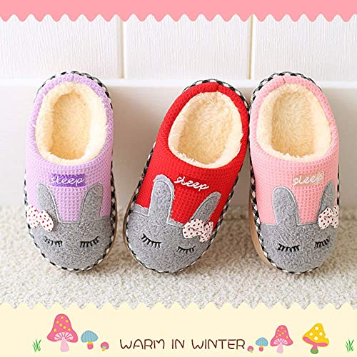 MARITONY Kids Cute House Slippers Boys Girls Fuzzy Fluffy Home Slippers Winter Fur Lined Warm Indoor Bunny Shoes