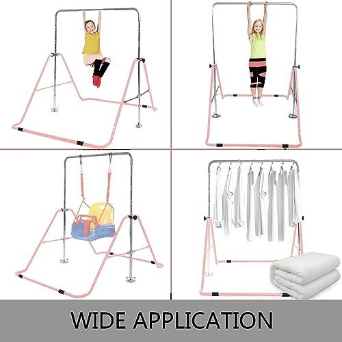 BuoQua Kids Gymnastics Bar with Gloves Adjustable Folding Horizontal Bar Pull Up Expandable Junior Training Bar for Kids Home Training