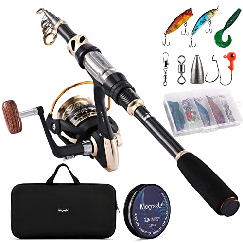 Telescopic Fishing Pole and Reel Combo Full Kit with Line Lures Hooks Carrier Bag for Travel Saltwater Freshwater Boat Fishing Beginners ShinePick Fishing Rod Kit