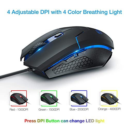 Ombar Portable USB Wired Optical Office Gaming Mouse Mice For Laptop PC Macbook
