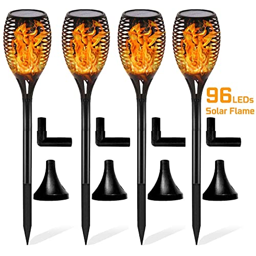COCOMOX Solar Flames Torches Lights Dancing Flickering Solar Lights Waterproof Outdoor Solar Landscape Decoration Lighting Dusk to Dawn Auto On Off Security Torch Light Patio Driveway Yellow 1 Pack