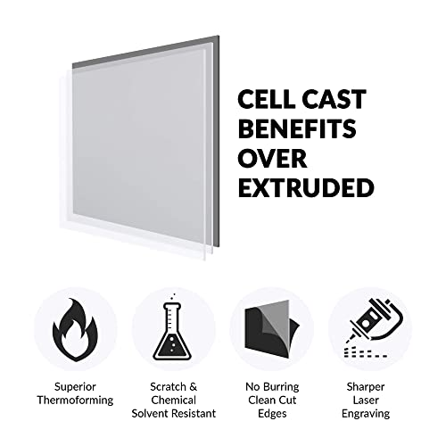 """Acrylic Sheet Clear Cast Plexiglass 12"""" x 12"""" Square Panel 1//8"""" Thick 3mm by for"""
