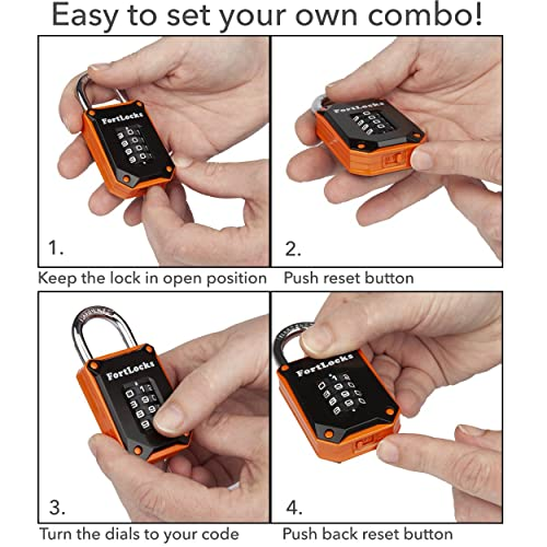 Heavy Duty FortLocks Gym Locker Lock Hardened Stainless Steel 1 Pack Orange Weatherproof and Outdoor Combination Padlock 4 Digit Resettable and Cut Proof Combo Code Easy to Read Numbers