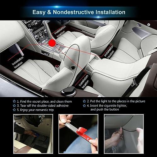 wsiiroon Car LED Strip Lights 4pcs 48 LED Bluetooth App Controller Interior ...
