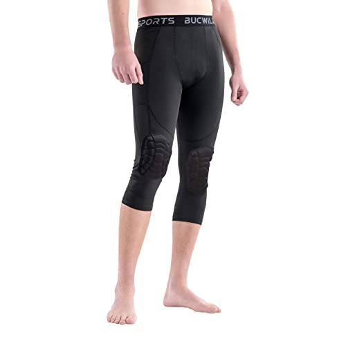 Bucwild Sports /¾ Compression Pants with Knee Pads Size Youth Boys Adult Men Basketball Wrestling Volleyball