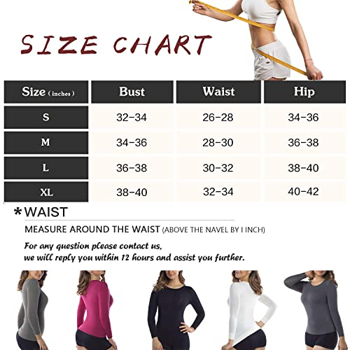 +MD Womens Compression Slimming Shirts and Undershirts for Tummy Waist and Bust Long Sleeves Thermal Underwear Round Neck