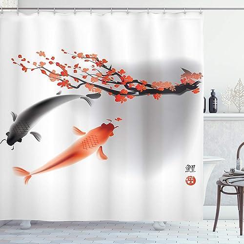 Cherry Blossoms /& Mt Fuji Shower Curtain Liner Waterproof Fabric 12 Hooks /& Mat