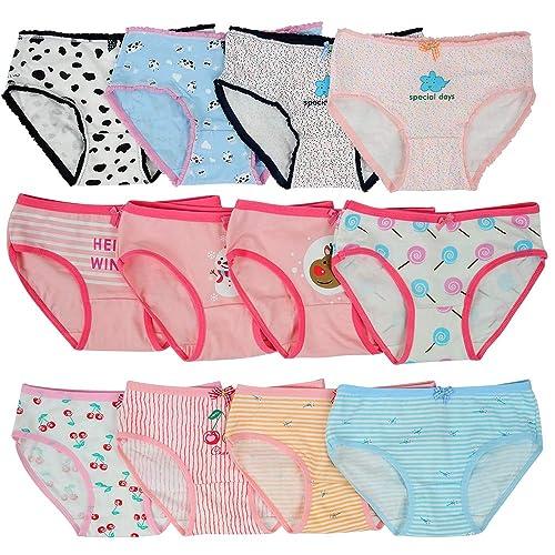 adiasen Baby Big Girls Toddler Kid Cute 6 Packs Cotton Underwear Briefs Hipster Knickers