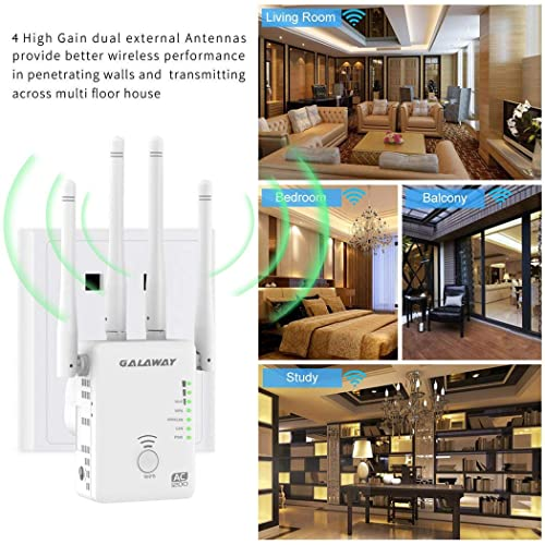 WiFi Extender White GALAWAY Upgraded WiFi Signal Repeaters Wireless 2.4GHz 5GHz 1200Mbps WiFi Range Extender Network Booster Signal Amplifier with High Gain Antenna // 2 Ethernet Ports