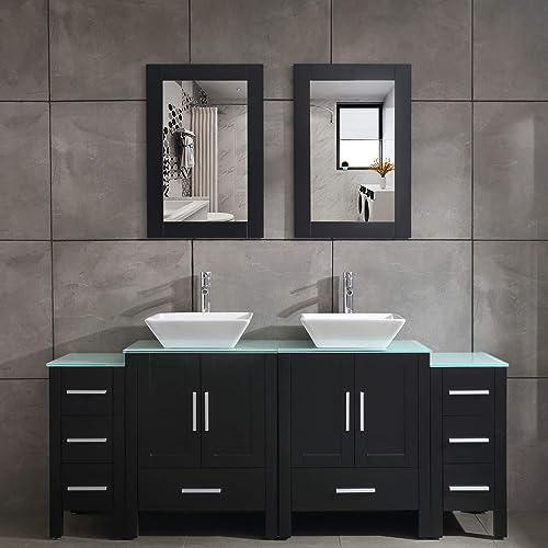 Paint Mdf Wood Wmirror Faucet Drain, Black Bathroom Vanity Cabinet