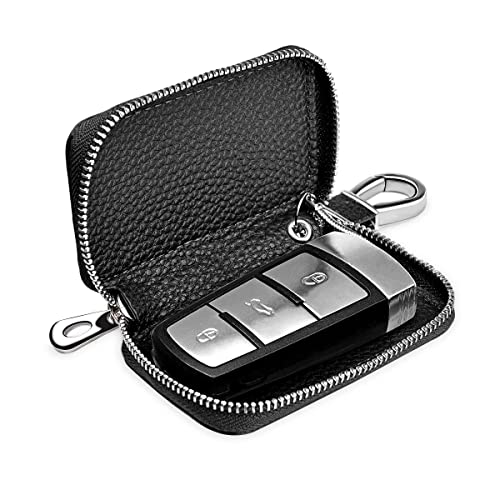 Buffway Car key case,Genuine Leather Smart Chain Keychain Holder Metal Hook