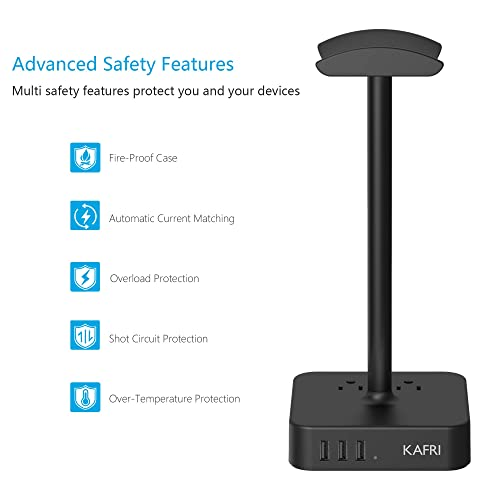 KAFRI Headphone Stand with USB Charger Desk Gaming Headset Holder Hanger Rack with 3 USB Charging Port and 2 AC Outlet Suitable for Gamer Desktop Table Wireless Earphone Accessories