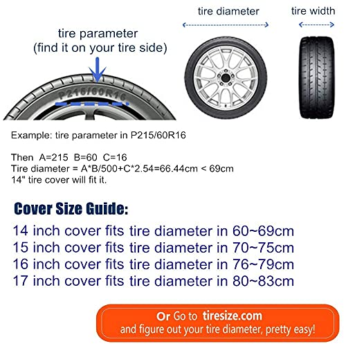 15 for Tire Diameter 27-29 Waterproof Dust-Proof PVC Leather Wheel Covers for RV Jeep Liberty Wrangler SUV Camper Travel Trailer Accessories HEALiNK Spare Tire Cover