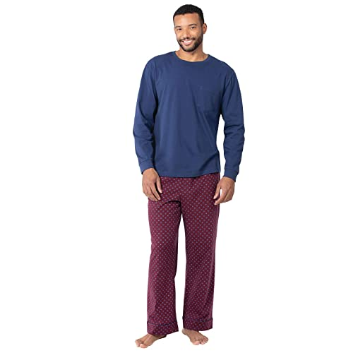 YIMANIE Mens Cotton Pajamas Set Classic Sleepwear Loungewear