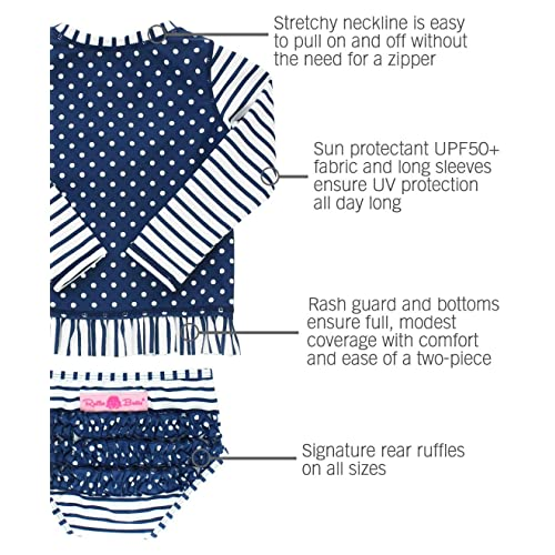 Stripes Polka with UPF 50 RuffleButts Little Girls Long Sleeve Rash Guard 2-Piece Swimsuit Set Sun Protection RGSYYXX-LSP2-SC-TDLR