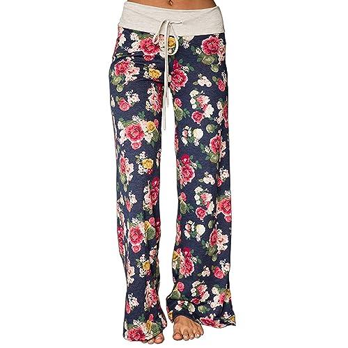 Outique Womens Pants Casual Wide Leg Pajama American Flag Pants Floral Print Comfy Drawstring High Waist Yoga Lounge