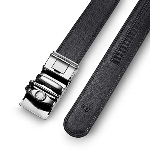 35mm LUXURY MEN/'S LEATHER BELT BOXED Automatic Ratchet Buckle Belts in a Variety of Colours 1.5 Genuine Leather Strap Wide Fully Adjustable to Fit Any Waist Size up To 42