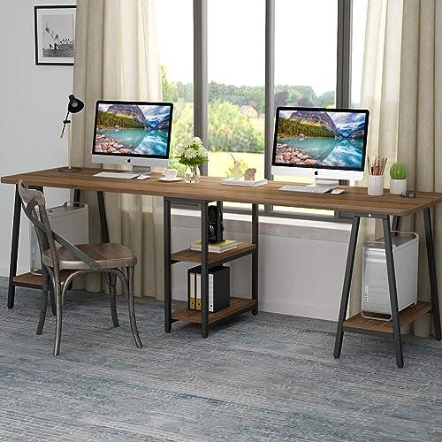 Soges Large Dual Desk 2 Person Workstation Desk 78 Inches Double Computer Desk With Storage Box Home Office Desk Writing Desk Teens Desk Black Ld H01bk Desks Workstations Office Furniture Accessories Office