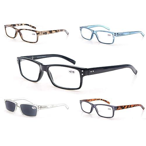 Reading Glasses 5-Pack Spring Hinges Readers for Women and Men