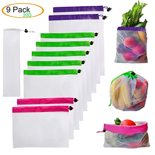 12pcs Reusable Mesh Produce Bags Washable Recyclable Grocery Bags Eco Friendly Bags for Grocery Shopping Storage Fruit Vegetable Toys