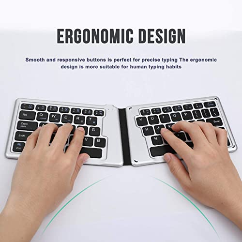 Jelly Comb Ultra Slim Ergonomic Foldable Rechargeable Pocket Sized Mini BT Wireless Keyboard for iOS Android Windows Laptop Tablet Smartphone Folding Bluetooth Keyboard Black