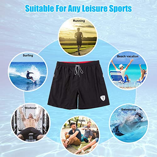 Beach Board Shorts with Pockets and Mesh Lining Breathable and Quick Dry Swimming Trunks for Boys and Men in Summer Lapulas Mens Swimming Shorts