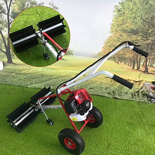52cc Gas Power Nylon Brush Sweeping Broom Driveway Turf Lawns Handheld Sweeper