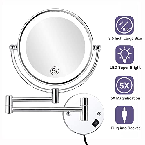 Led Lighted Wall Mounted Makeup Mirror