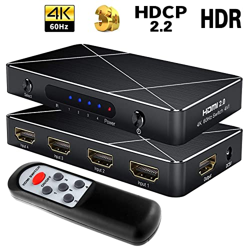 4 Port HDMI Switcher Hub 4K 3D PIP 4 In 1 Out IR Remote for PS3 PS4 Laptop HDTV