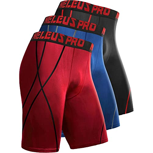 Cadmus 3 Pack Mens 8 inch Compression Running Shorts