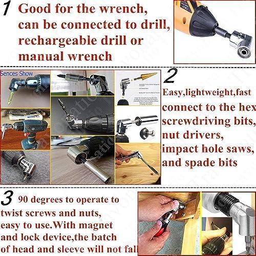4Pcs Right Angle Drill+Impact Grade Socket Adapter//Extension Drill Bit Set,105 Degree Right Angle Screwdriver Drill Attachmentset 1//4Drive Hex Bit Socket Adapter,3Pcs 1//4 3//8 1//2 Hex Shank