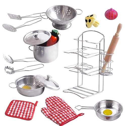 Pots and Pans Kids Play wooden Kitchen  Pretend Play Kitchen Set w Accessories