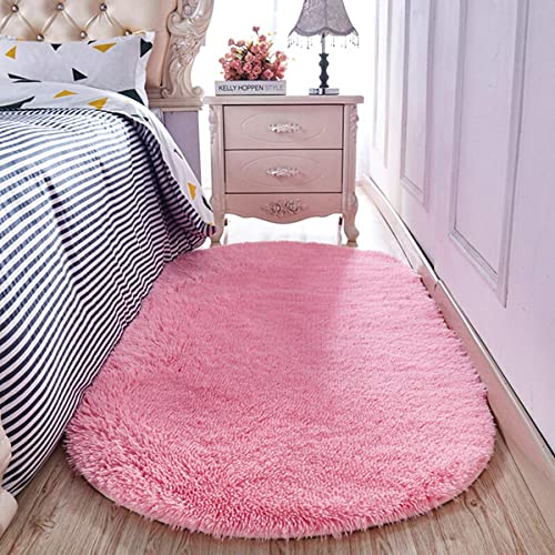 YJ.GWL Soft Shaggy Area Rugs for Girls Room Bedroom Non-Slip Kids Carpet Baby Nursery Decor Fluffy Modern Rug 4 x 6 Feet Grey