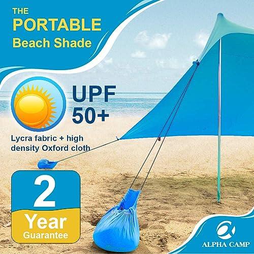 finest selection 5a6b3 23de3 Buy ALPHA CAMP Beach Shade Portable Canopy Sun Shelter with ...