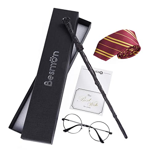 Glasses Frames and Wizard Wand for Halloween,Christmas Dress up Black Kadou 3Pcs Wizard Costume Accessories Set with Striped Tie