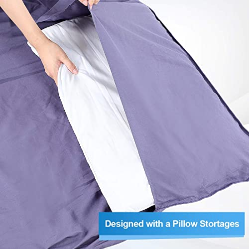 Backpacking Hotel Outdoors Lightweight Travel Sheet Adult Camping Sleep Bag with Zipper and Storage Package for Travel DOACT Cotton Sleeping Bag Liner Business or Home