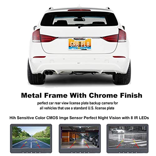 Plating process License Plate Backup Camera Rear View Camera 170/° Viewing Angle Universal Car License Plate Frame Mount Rearview Camera Waterproof High Sensitive 8 IR LED Night Vision Reverse Aid