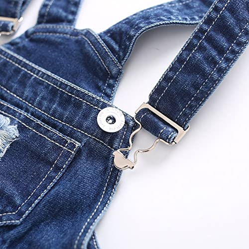 Kidscool Space Cute 4 Pockets Elastic Legs Baby Toddler Ripped Jeans Overall