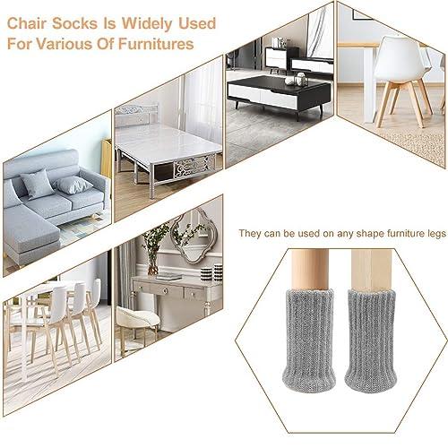 Ezprotekt 24 PCS Chair Socks High Elastic Floor Protectors Non Slip Chair Leg Feet Socks Covers Furniture Caps Set Fit Diameter from 1 to 2,Knitted Furniture Pads Light Brown