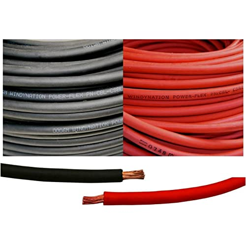 WindyNation 10 Gauge 10 AWG One Pair 3 Feet Black 3 Feet Red Solar Panel Extension Cable Wire MC4 Connector