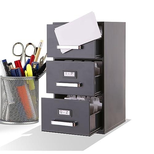 Office /& Tradeshows Business Card Desk Holder Metal Aluminum Desktop Business Name Card Case Display Organizer Stand 1 Pack, Silver Business Card Holder for Desk
