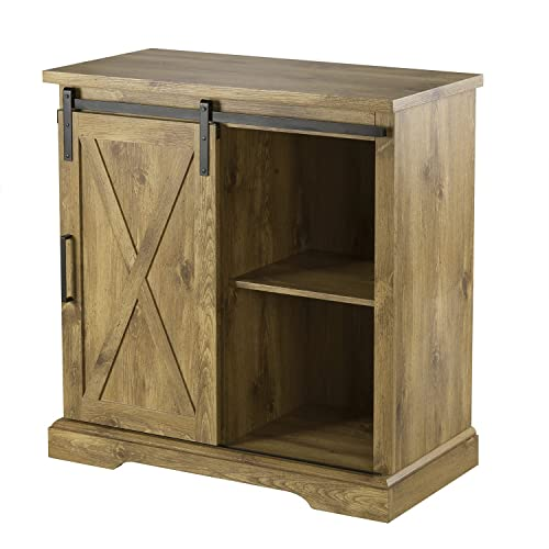 Buy Decok Farmhouse Storage Bar Cabinet With Sliding Barn Door Industrial Buffet Sideboard Accent Console Table With Adjustable Shelves For Living Room Kitchen And Family Room 32 Inch Rustics Oak Online In Taiwan