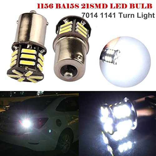 Side Marker Lights BRISHINE 4-Pack Super Bright 1156 1003 1141 7506 BA15S LED Bulbs Amber Yellow 9-30V Non-Polarity 24-SMD LED Chipsets with Projector for Turn Signal Lights